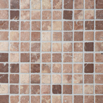 Travertiinimosaiikki Qualitystone Square Coco Brown, verkolla, 30 x 30 mm
