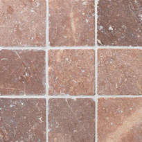 Travertiinilaatta Qualitystone Square Coco Brown, 100 x 100 mm