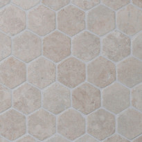 Marmorimosaiikki Qualitystone Hexagon White, verkolla, 60 x 60 mm