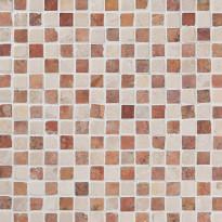 Marmorimosaiikki Qualitystone Square Terra-White, verkolla, 20 x 20 mm