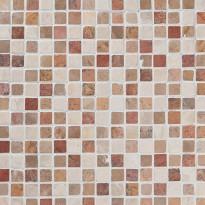 Marmorimosaiikki Qualitystone Square Terra-Mustard-White, verkolla, 20 x 20 mm