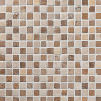 Marmorimosaiikki Qualitystone Square Mustard-White, verkolla, 20 x 20 mm