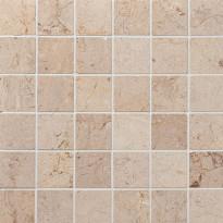 Marmorimosaiikki Qualitystone Crema Light, kiiltävä, verkolla, 305 x 305/48 x 48 mm