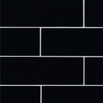 Lasimosaiikki Qualitystone Crystal Black, 100 x 300 mm