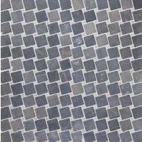 Marmorimosaiikki Qualitystone Diagonal Gray-White, verkolla, 50x50/10x10 mm