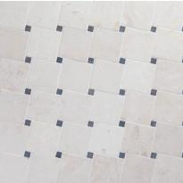 Marmorimosaiikki Qualitystone Diagonal White-Gray, verkolla, 100x100/20x20 mm