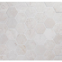 Marmorilaatta Qualitystone Hexagon White, 100 x 100 mm