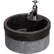 Pesuallas Qualitystone WB SOYAM, Ø450mm, andesiitti, musta