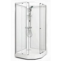 Suihkukaappi Flow Semi, 91x71, vasen, valkoinen profiili/ice lasi