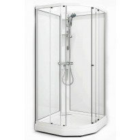 Suihkukaappi Flow Semi, 101x101, mattahopea profiili/kirkas lasi