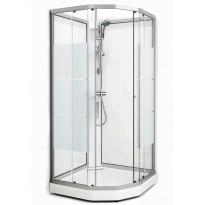 Suihkukaappi Fjord Semi, 101x101, valkoinen profiili/screen lasi