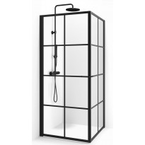 Suihkunurkka Macro Empire Suora, 100x100, kirkas lasi, musta ruudukko