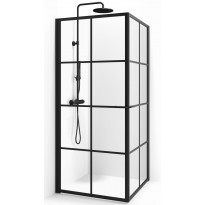 Suihkunurkka Macro Empire Suora, 90x90, kirkas lasi, musta ruudukko