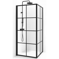 Suihkunurkka Macro Empire Suora, 80x80, kirkas lasi, musta ruudukko