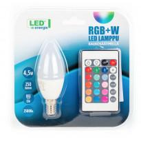 LED-kynttilälamppu LED Energie, 4.5W, 250lm, RGB + white + kaukosäädin, 37x100mm