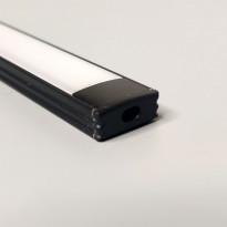 LED-asennuslista FTLight, 2m, läpikuultava maitolasi, musta