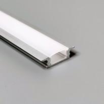 LED-asennuslista FTLight, 2m, upotettava, läpikuultava maitolasi, alumiini