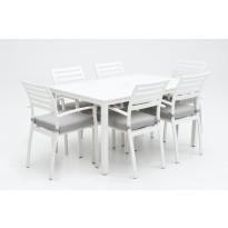 Ruokailuryhmä Flores, 6 tuolia, valkoinen
