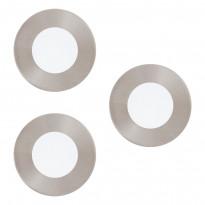 LED-kattovalaisin Eglo Crosslink Fueva-C, 3x3W, Ø85mm, upotettava, IP20, harjattu teräs/valkoinen