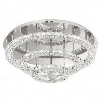 Plafondi LED Toneria, Ø75cm, kromi, kristalli