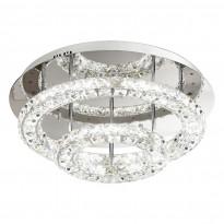 Plafondi LED Toneria, Ø55cm, kromi, kristalli