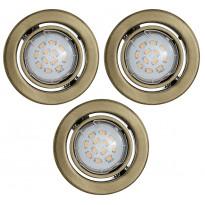Upotettava spottisetti Igoa LED, Ø9cm, 3x5W, pronssi