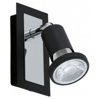 LED-seinäspotti Eglo Sarria, 60x120mm, musta, kromi 94963