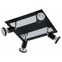 LED-kattospotti Eglo Sarria, 4-osainen, musta, kromi 94966