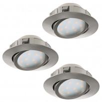 LED-alasvalosarja Eglo 3x6W, Ø84mm, teräs 95853
