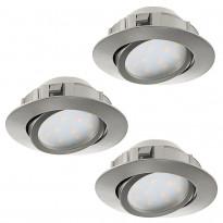 LED-alasvalosarja Eglo 3x6W, Ø84mm, teräs, himmennettävä 95859
