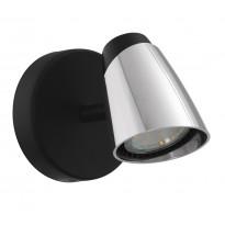 LED-spottivalaisin Eglo Moncalvio, 5W, Ø95mm, GU10, IP20, himmennettävä, musta/kromi