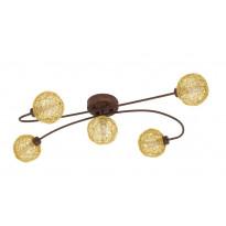 LED-kattovalaisin Eglo Caris 1, 5x3W, 745x180x410mm, G9, IP20, himmennettävä, ruskea/kulta