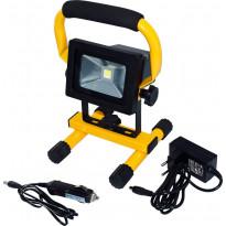 LED-valonheitin ElectroGEAR 10W, IP44, telineillä, ladattava
