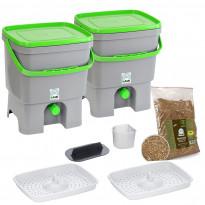 Bokashi keittiökompostori BioProffa Organko tuplapakkaus, 16l, harmaa/vihreä