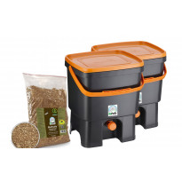 Bokashi keittiökompostori BioProffa Organko tuplapakkaus, 16l, musta/oranssi