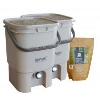 Bokashi keittiökompostori BioProffa Prego tuplapakkaus, 19l, harmaa