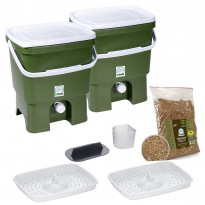 Bokashi keittiökompostori BioProffa Organko tuplapakkaus, 16l, oliivinvihreä/valkoinen