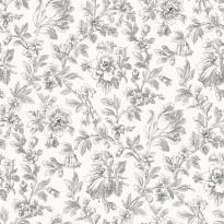 Tapetti Fine Flowers 127625 0,53x10,05 m valkoinen/musta non-woven