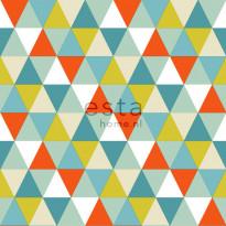 Tapetti Triangles 128708 0,53x10,05 m oranssi, minttu, oliivi