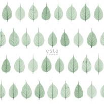 Tapetti Esta Greenhouse 128847, 0,53x10,05m, valkoinen/vihreä