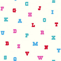 Tapetti Text 137325 0,53x10,05 m turkoosi/vaaleanpunainen non-woven