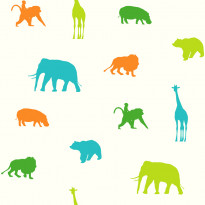 Tapetti Animals 137335 0,53x10,05 m limenvihreä/oranssi non-woven