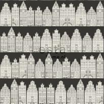 Tapetti Amsterdam Houses 137715 0,53x10,05 m musta/valkoinen non-woven