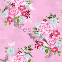 Tapetti Flowers & Birds 138120 0,53x10,05 m vaaleanpunainen non-woven