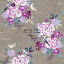 Tapetti Flowers & Birds 138122 0,53x10,05 m purppura/taupe non-woven