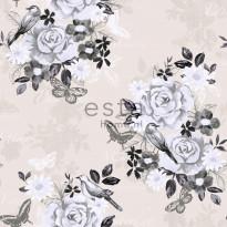 Tapetti Flowers & Birds 138125 0,53x10,05 m musta non-woven