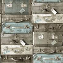 Tapetti Vintage Suitcases 138214, 0,53x10,05m, vedenvihreä/ruskea