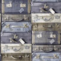 Tapetti Vintage Suitcases 138215, 0,53x10,05m, sininen/ruskea