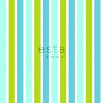 Tapetti Vertical Stripes 138703 0,53x10,05 m turkoosi, limenvihreä, valkoinen