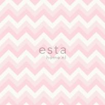 Tapetti Zigzag 138709 0,53x10,05 m vaaleanpunainen, valkoinen